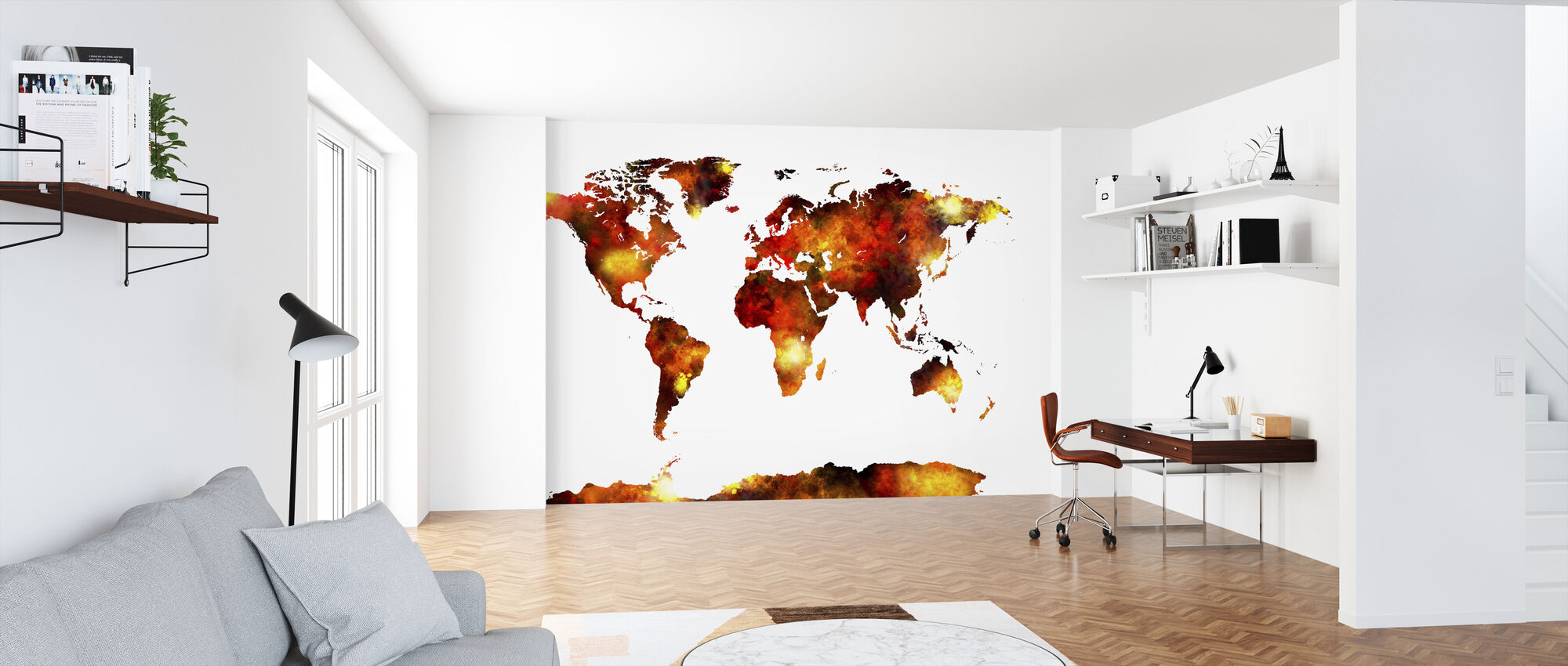 Watercolour World Map Orange - Wallpaper - Office