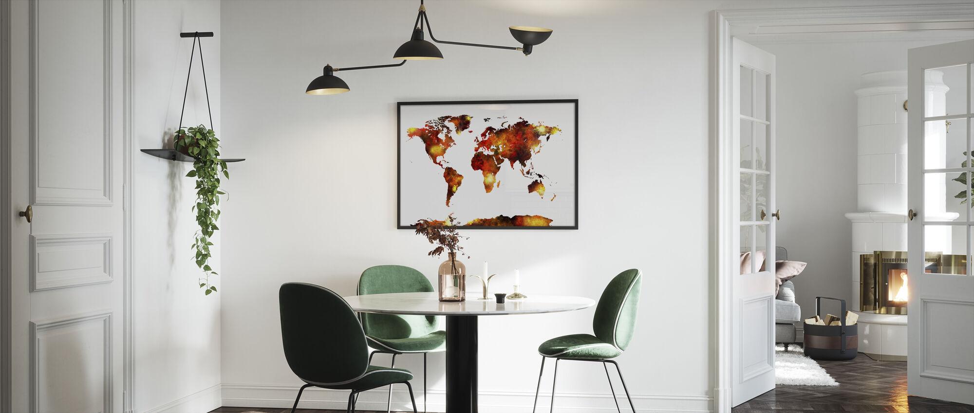 Akvarell World Map Orange - Innrammet bilde - Kjøkken