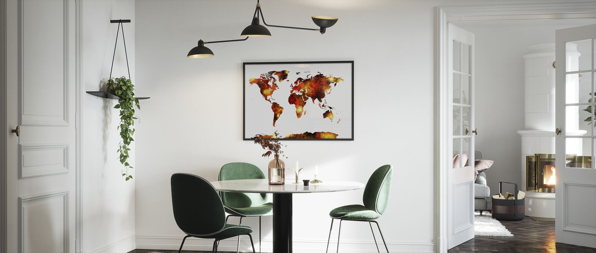 Watercolour World Map Orange - Framed print - Kitchen