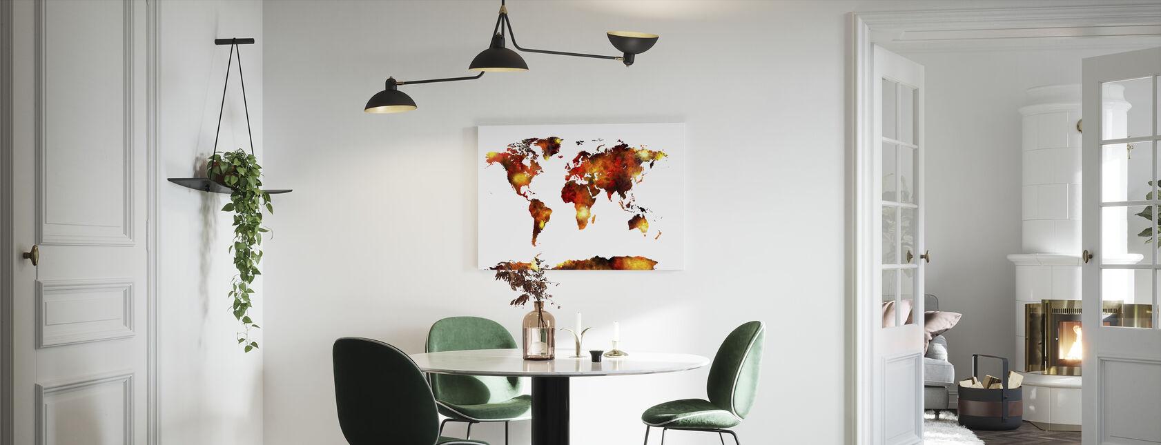 Akvarel verdenskort Orange - Billede på lærred - Køkken