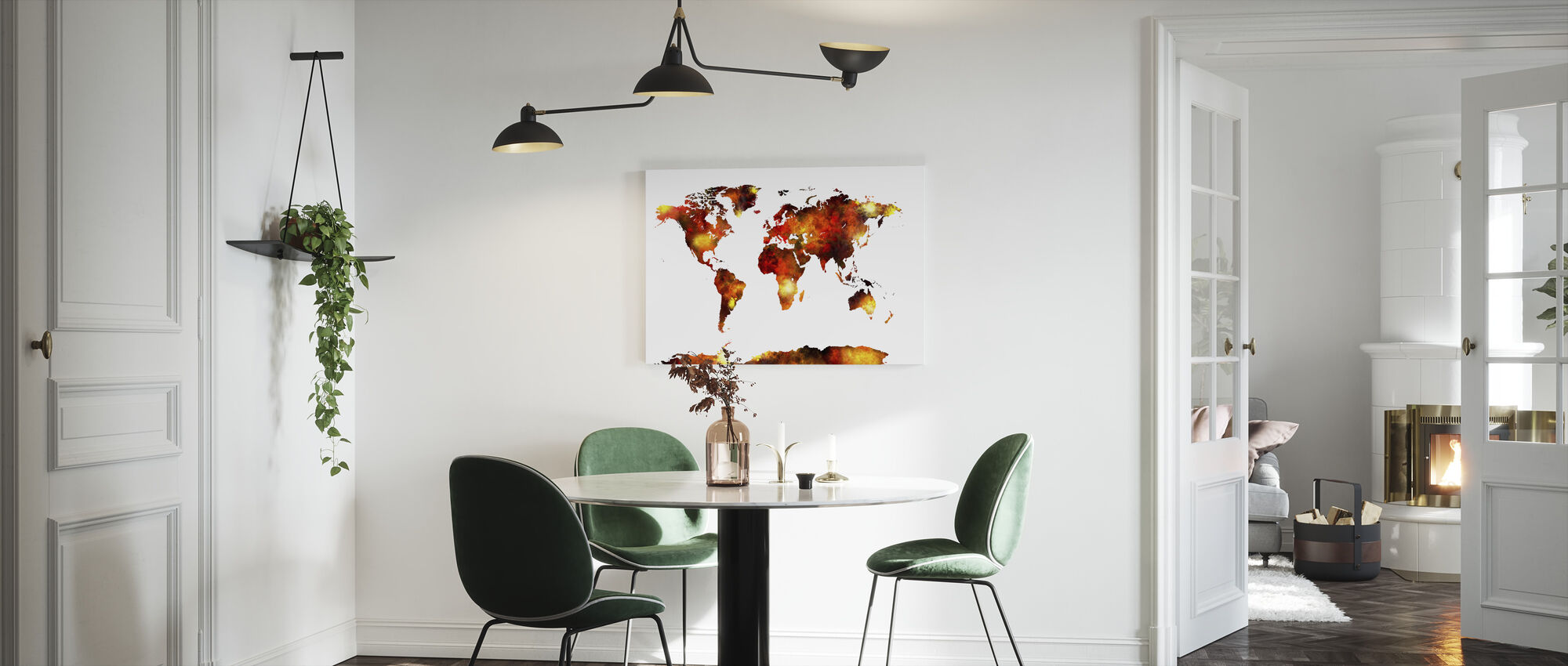 Watercolour World Map Orange - Canvas print - Kitchen