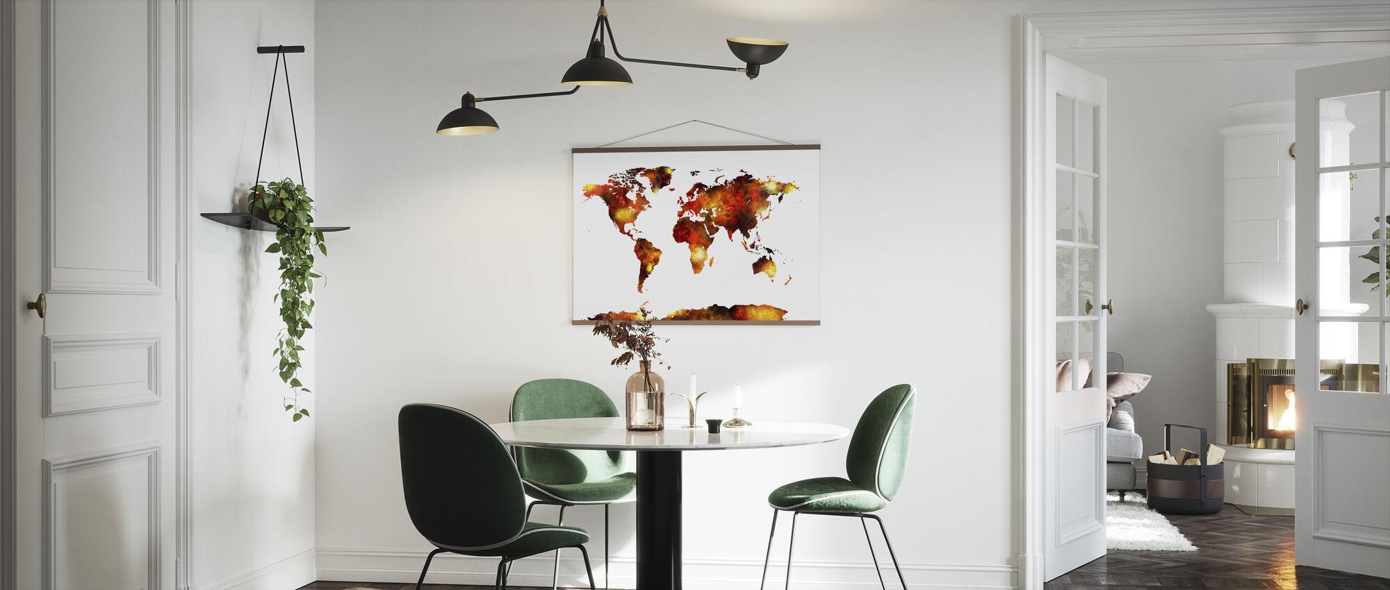 Akvarell World Map Orange - Plakat - Kjøkken