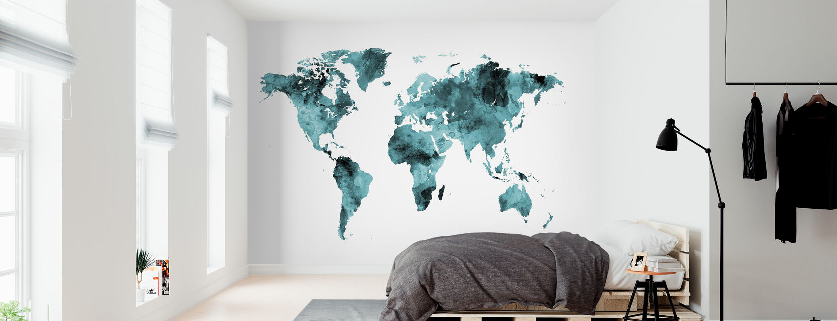 Watercolour World Map Turquoise - Wallpaper - Bedroom