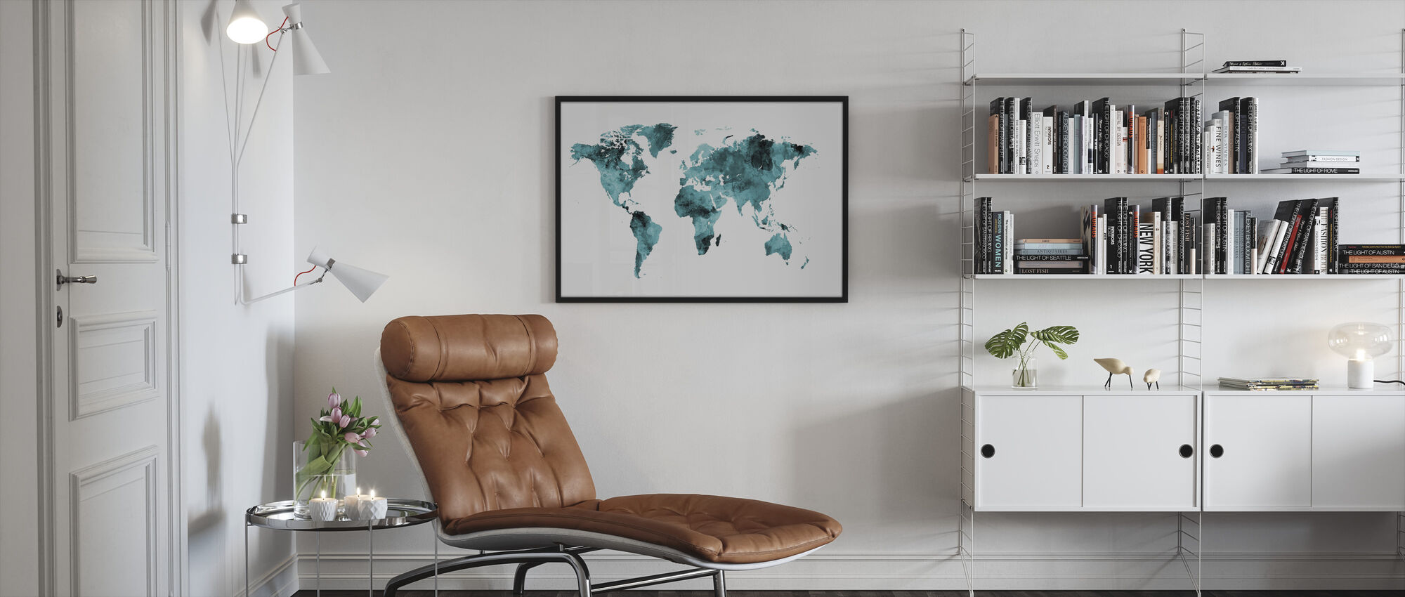 Akvarell World Map Turquoise - Innrammet bilde - Stue