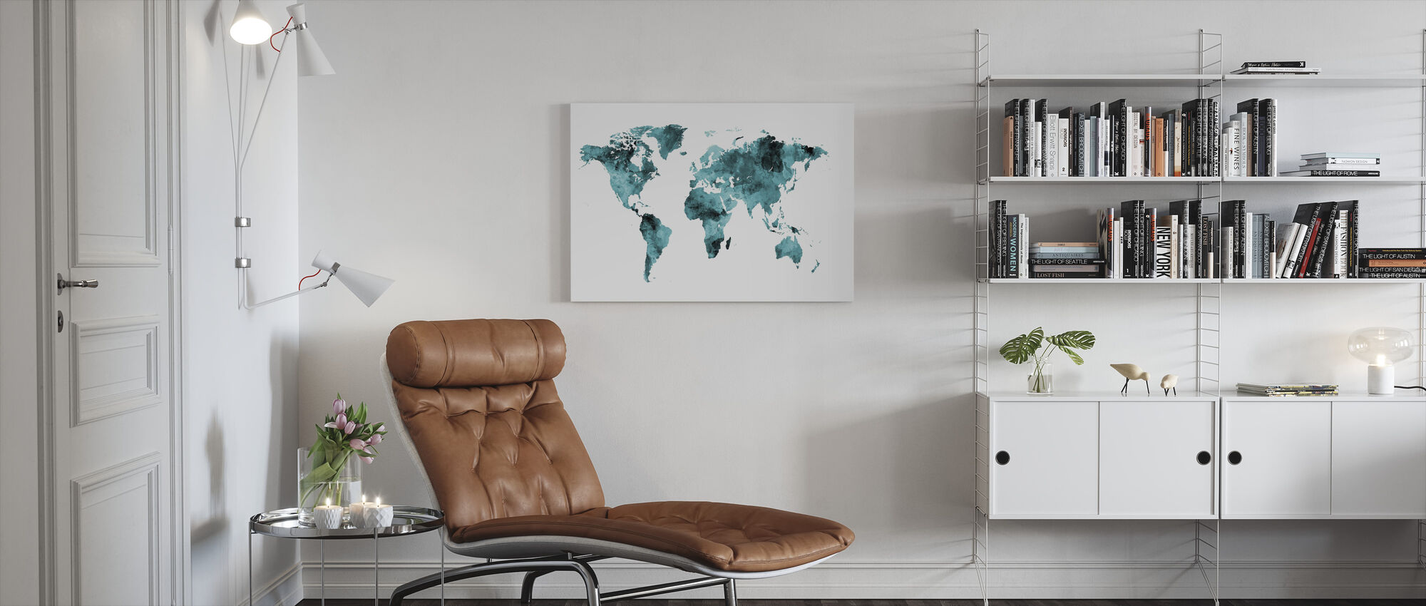 Aquarel Wereld Kaart Turkoois - Canvas print - Woonkamer