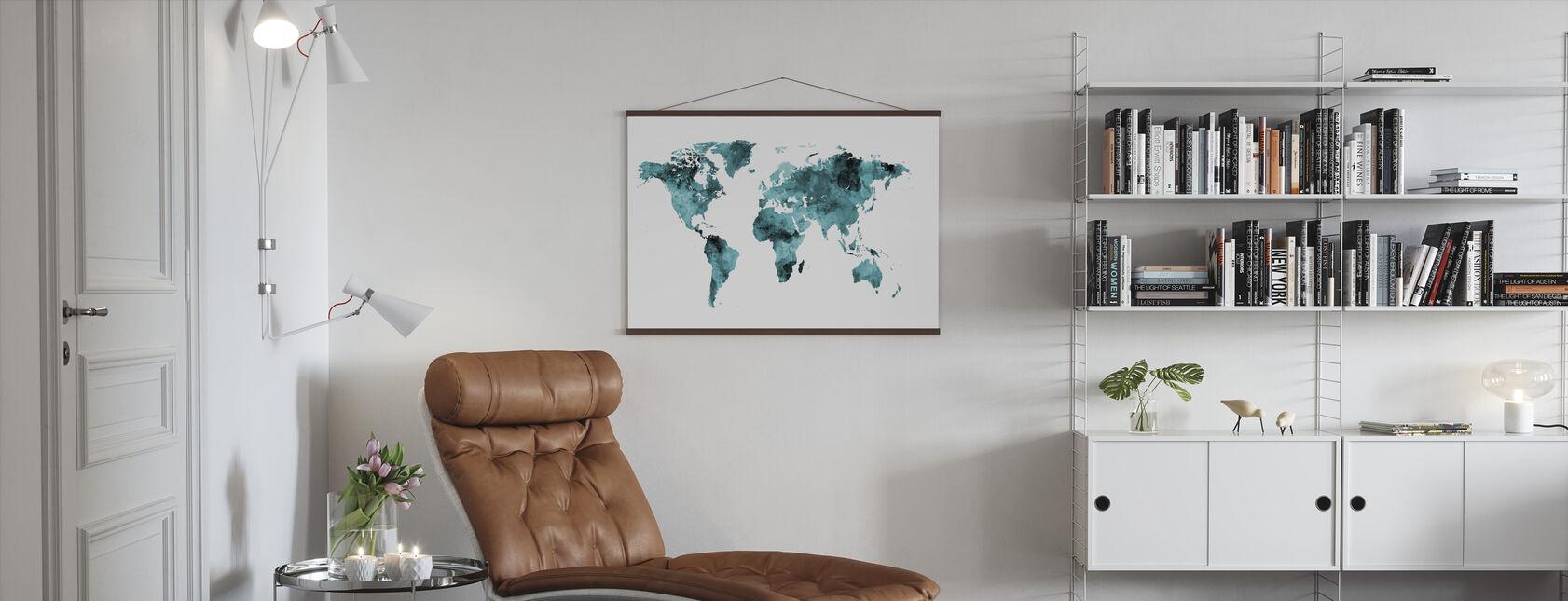 Aquarell Weltkarte Türkis - Poster - Wohnzimmer