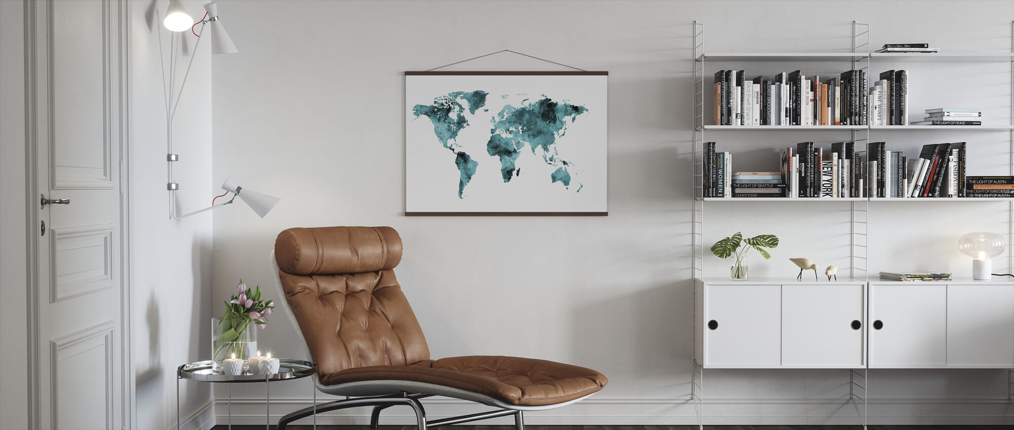Watercolour World Map Turquoise - Poster - Living Room