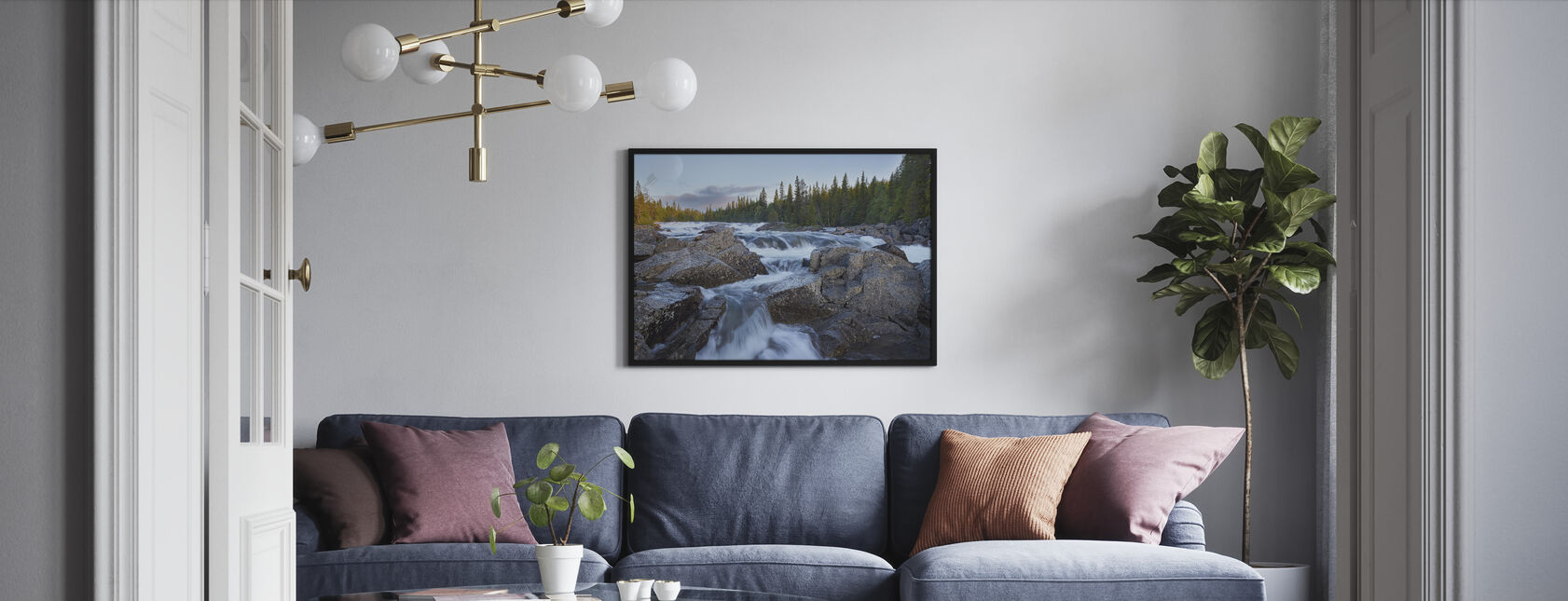 Tännforsen in Jämtland - Framed print - Living Room