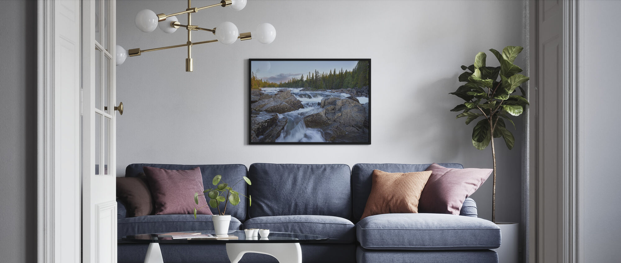 Tännforsen in Jämtland - Framed print - Living Room