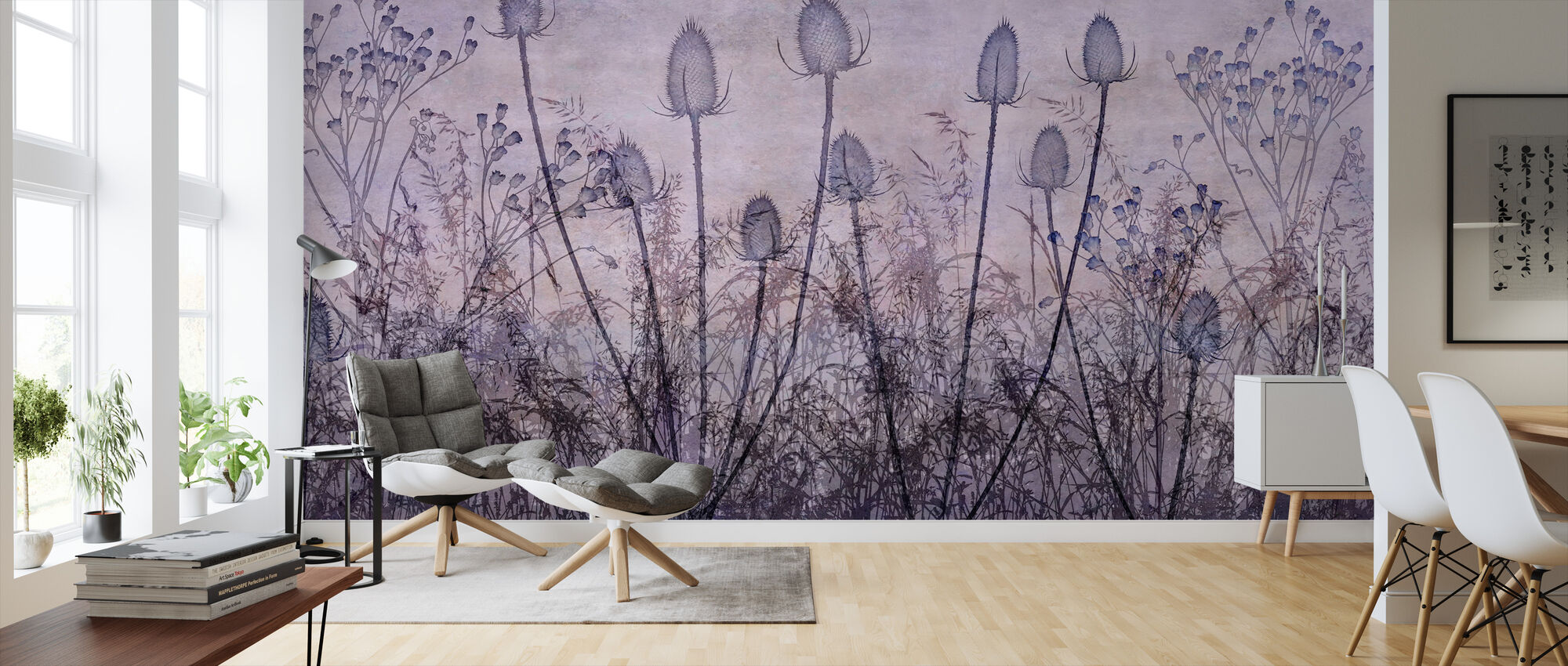 Wildflowers Lining the Trail Purple - Wallpaper - Living Room