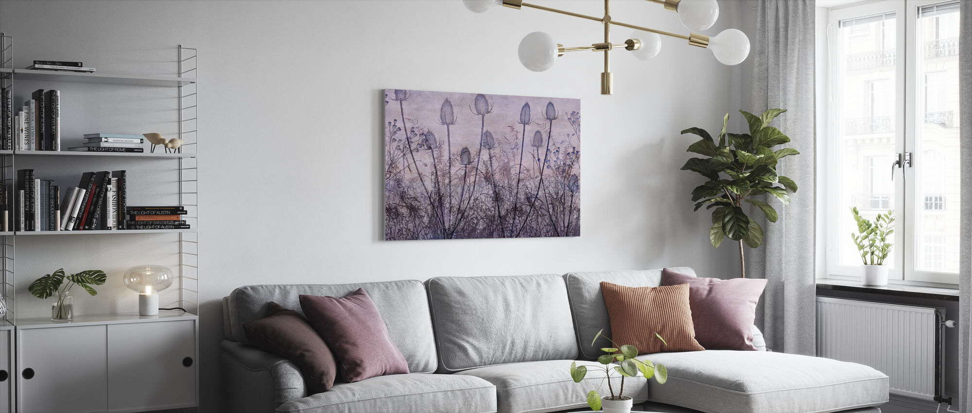 Wildflowers Lining the Trail Purple - Canvas print - Living Room