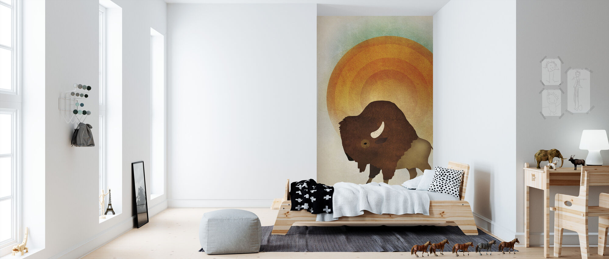 Blazing Sun Bison - Wallpaper - Kids Room