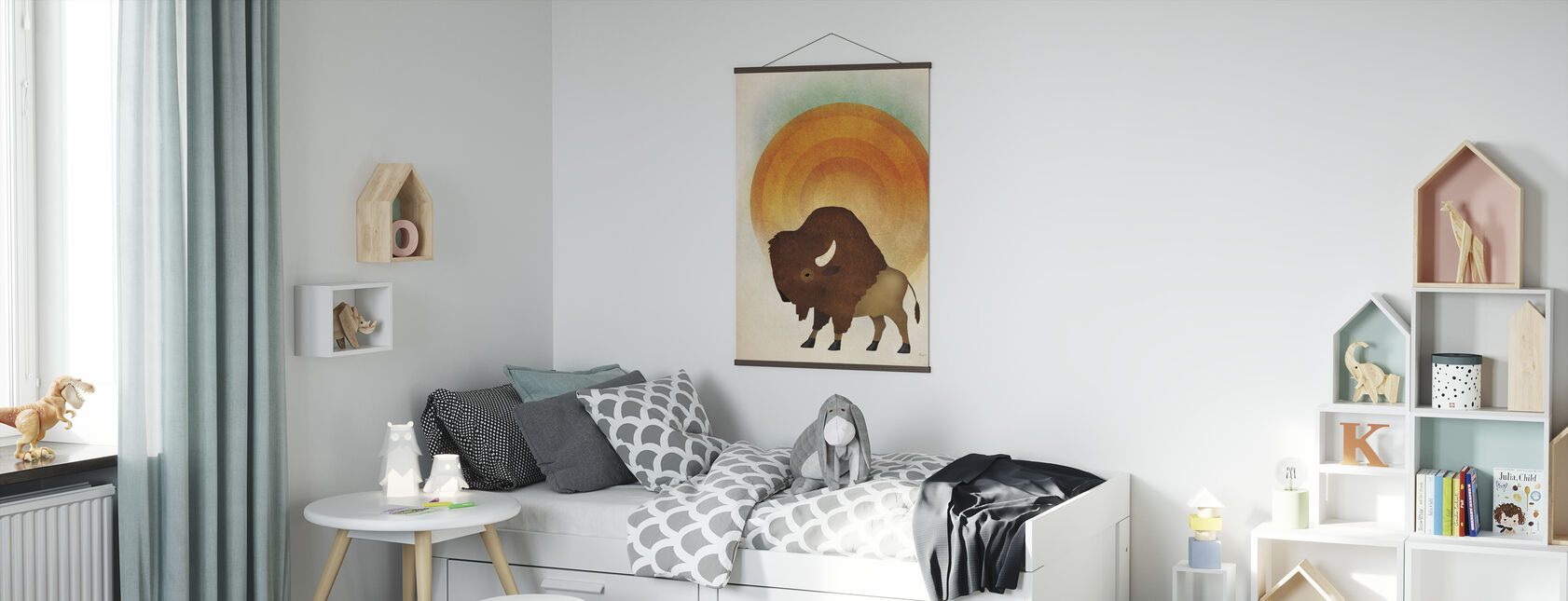 Blazing Sun Bison - Poster - Kids Room