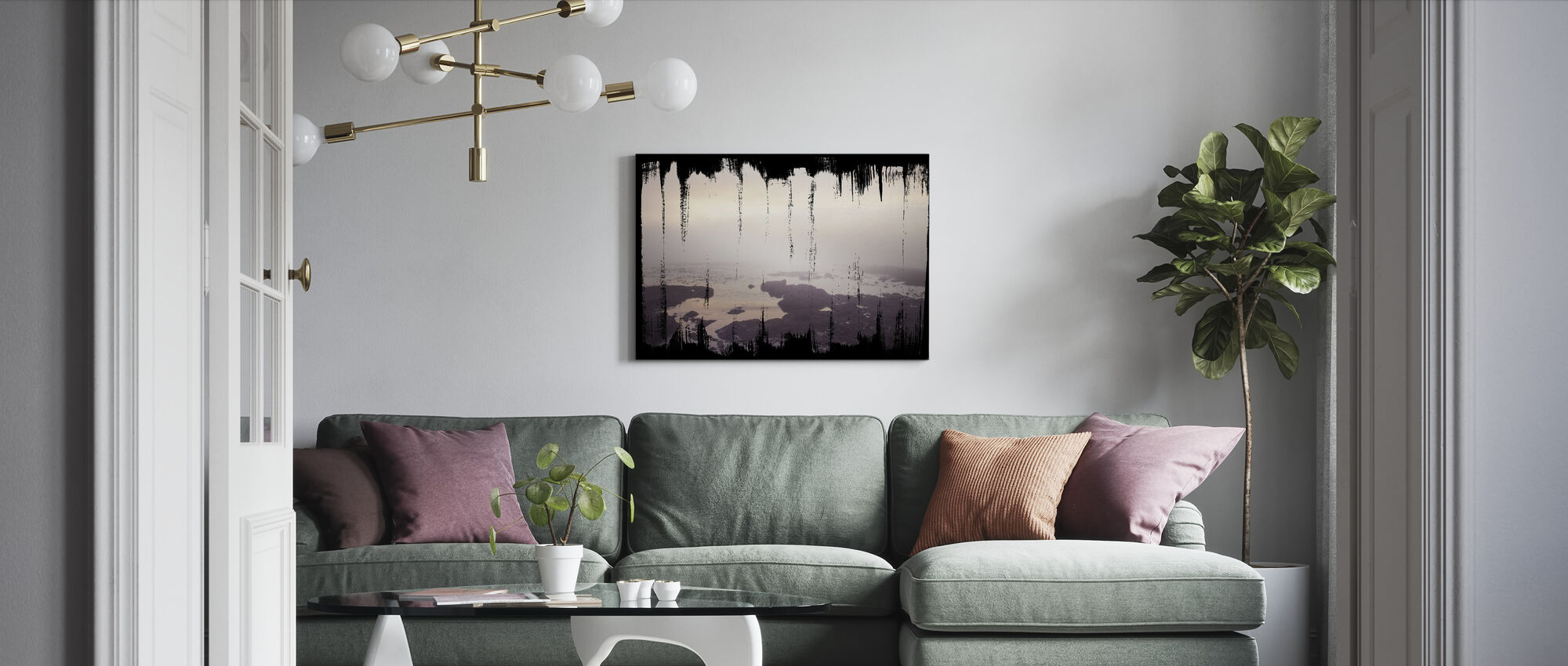 Painted Seaside I on Black - Canvas print - Living Room