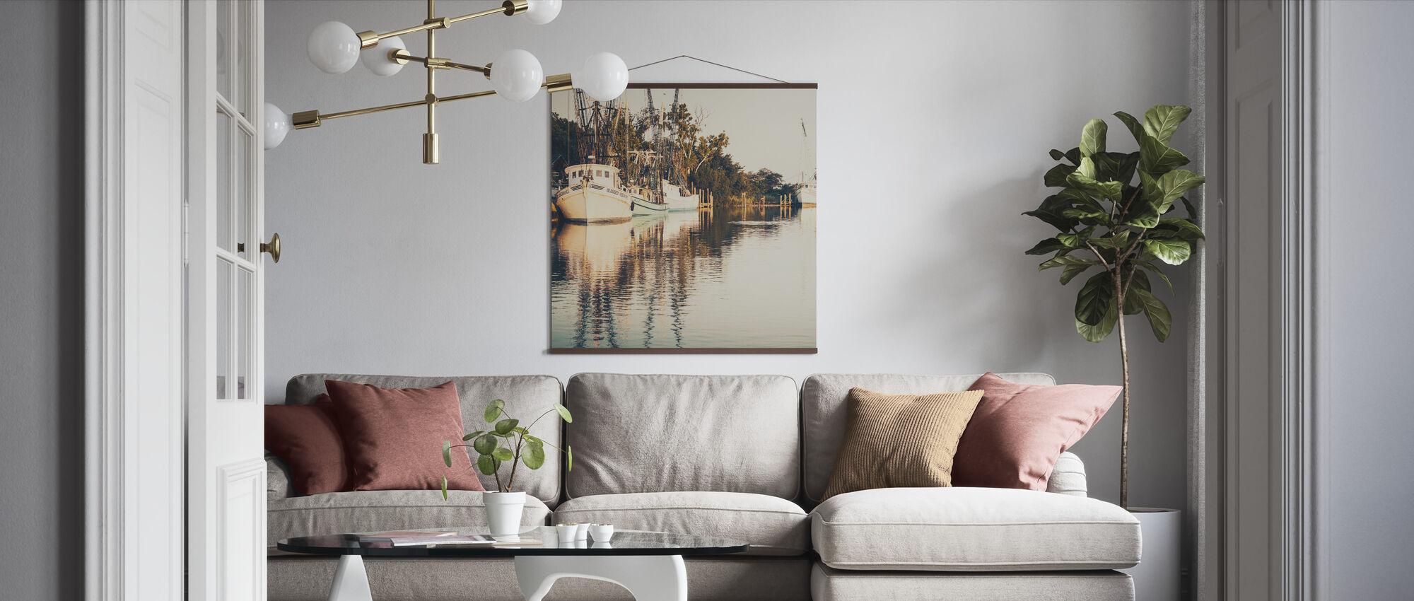 Sepia Shrimp Boat - Poster - Living Room