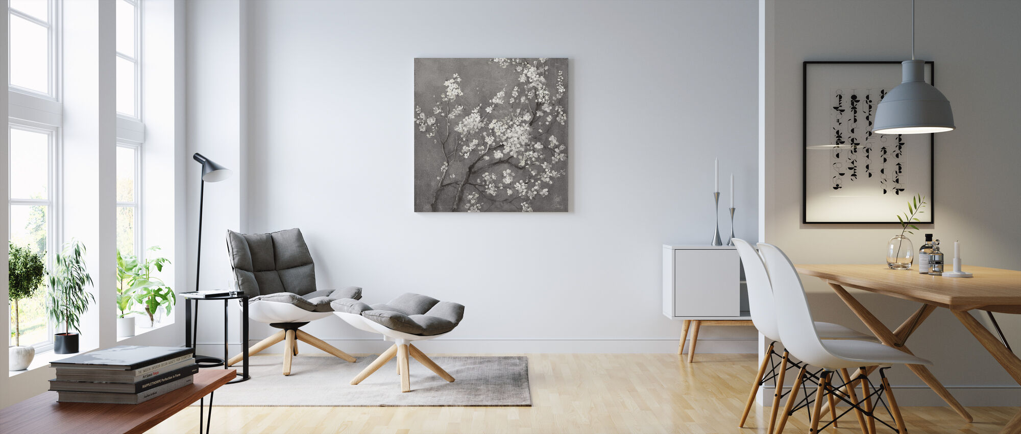 White Cherry Blossoms I on Grey Crop - Canvas print - Living Room