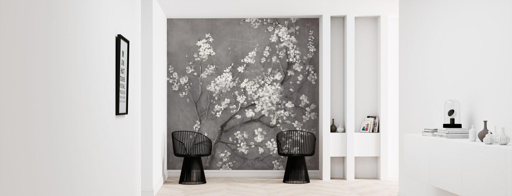 White Cherry Blossoms I on Grey Crop - Wallpaper - Hallway