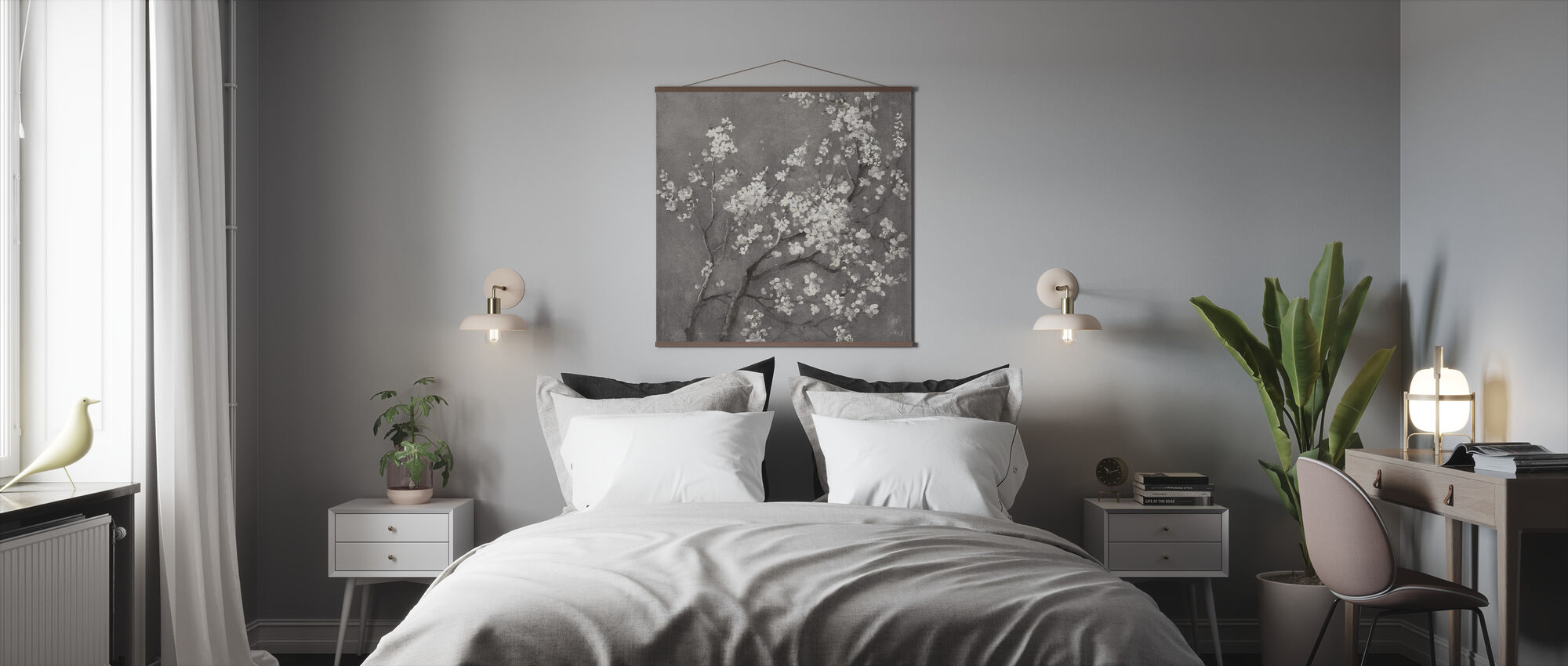 White Cherry Blossoms I on Grey Crop - Poster - Bedroom