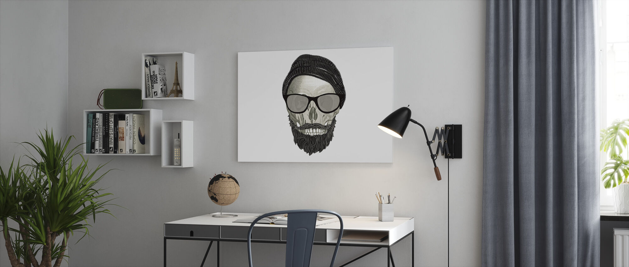 Hipster Skull II - Canvas print - Kantoor