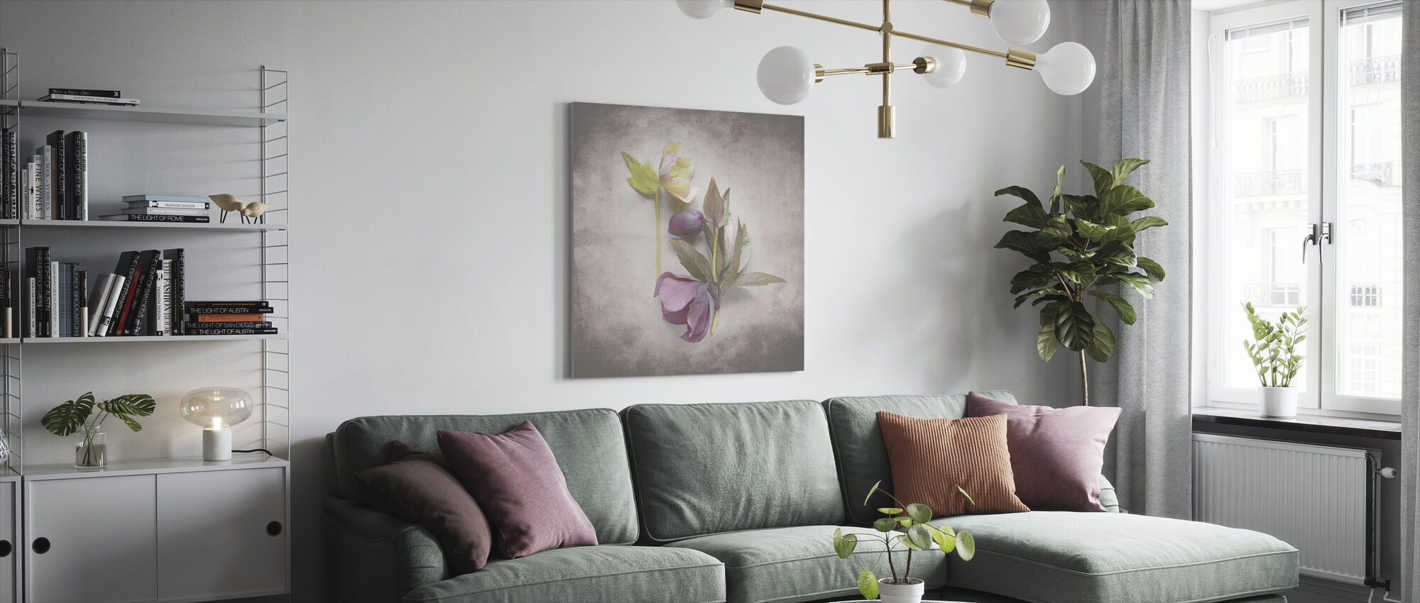 Vintage Hellebore Study VII - Canvas print - Living Room