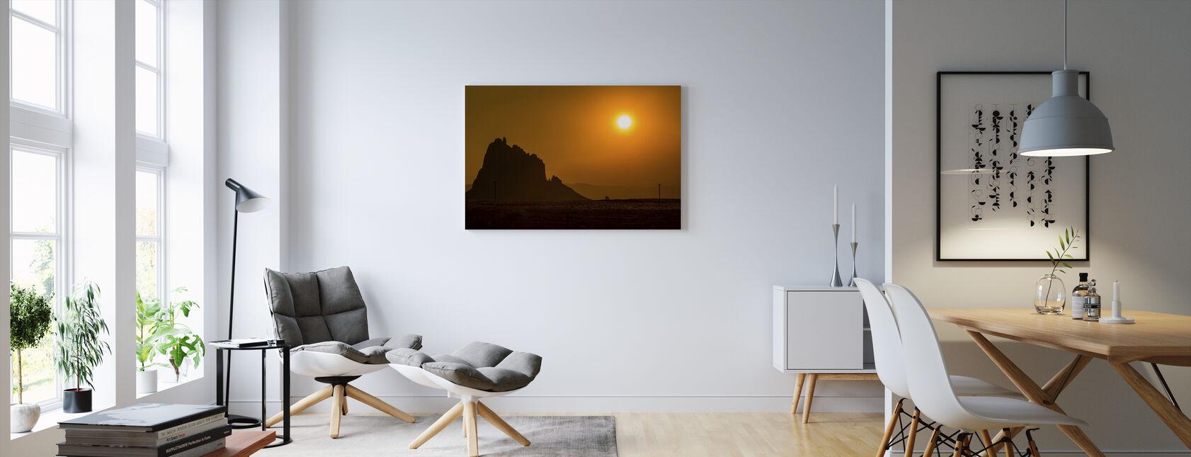 Skibsskib ved solnedgang - Billede på lærred - Stue