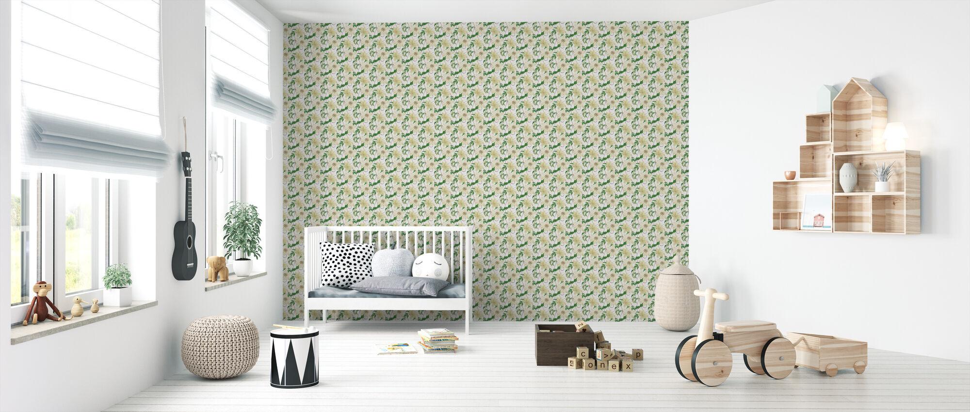 Clematis Climbing the Wall - Wallpaper - Nursery