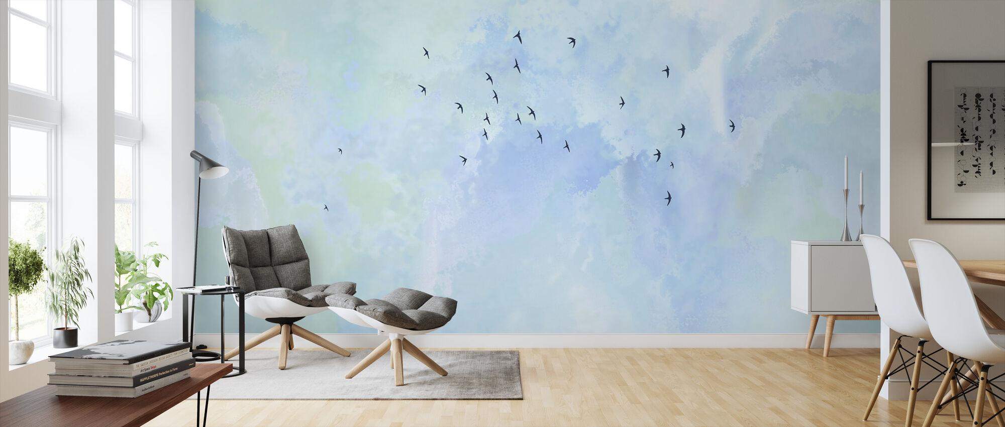 Pájaros Altos Voladores - Papel pintado - Salón