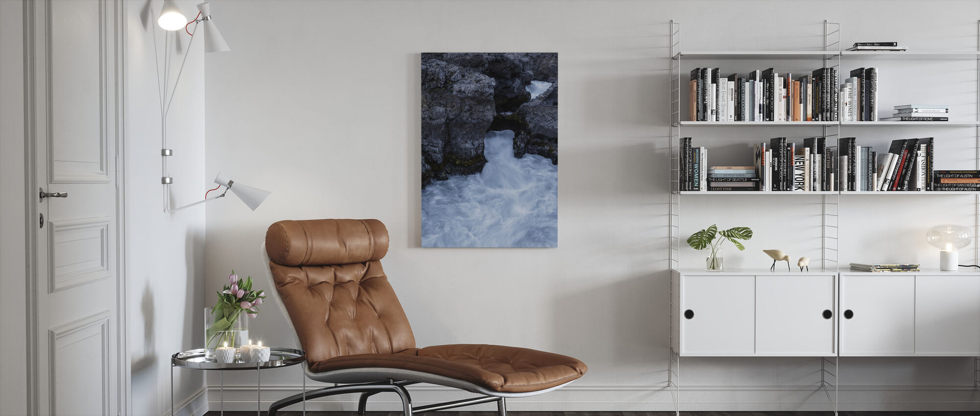 In the Depth of Hraunfossar - Canvas print - Living Room