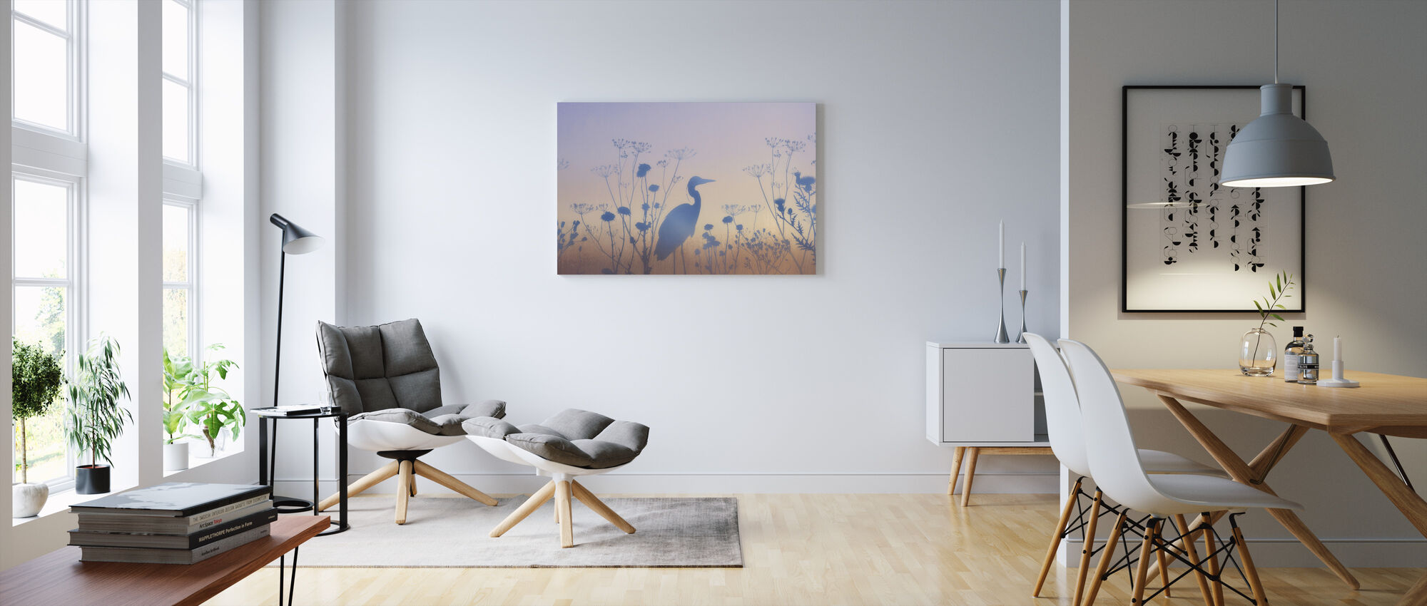 Blue Dawn Silhouettes - Canvas print - Living Room