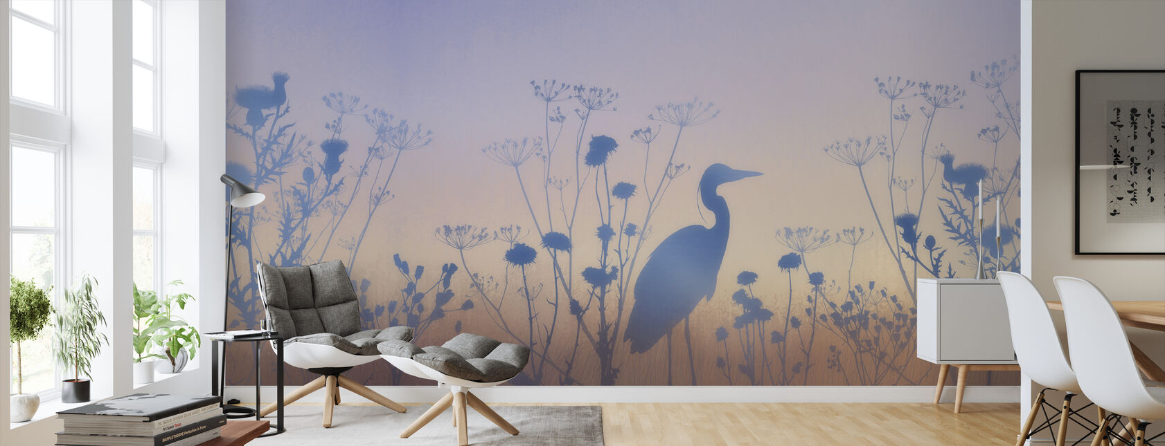 Blue Dawn Silhouettes - Wallpaper - Living Room