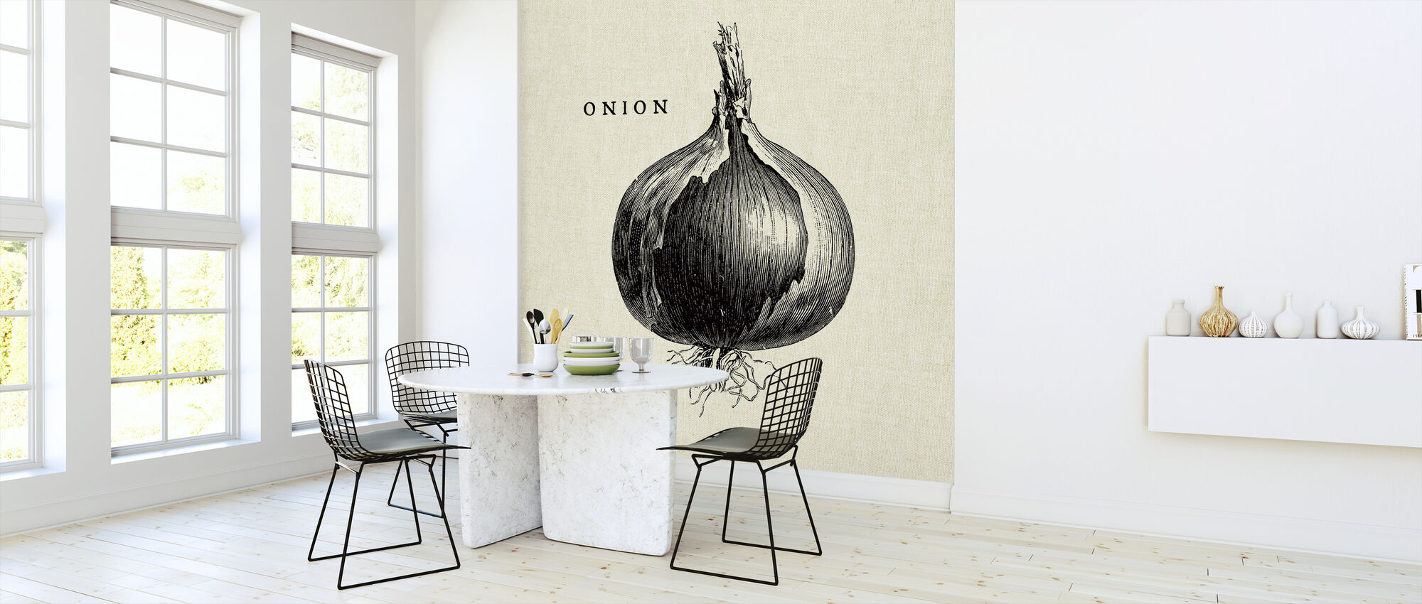 Kitchen Illustration - Onion - Wallpaper - Kitchen