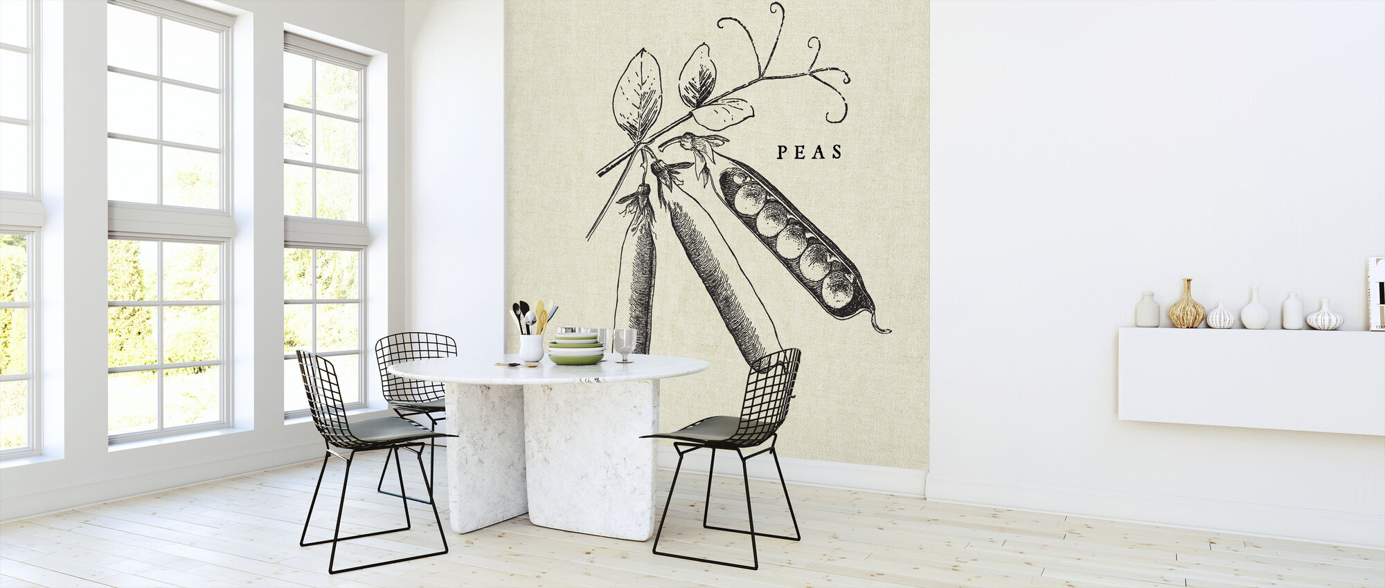 Kitchen Illustration - Peas - Wallpaper - Kitchen