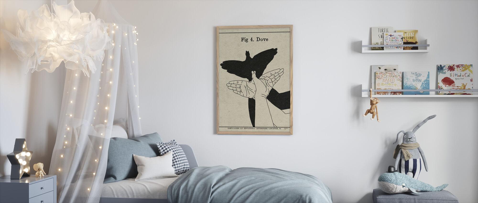 De kunst van schaduwen - Duif - Ingelijste print - Kinderkamer