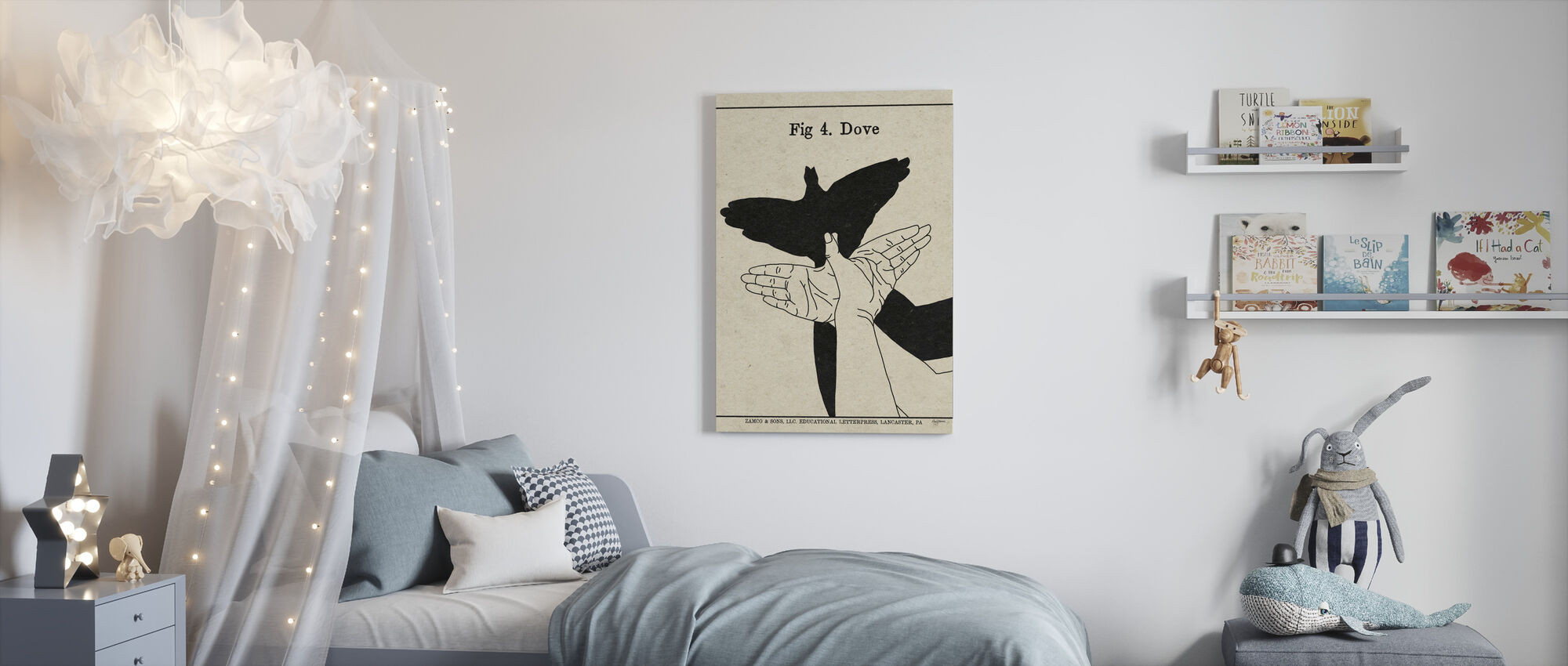 The Art of Shadows - Dove - Canvas print - Kids Room