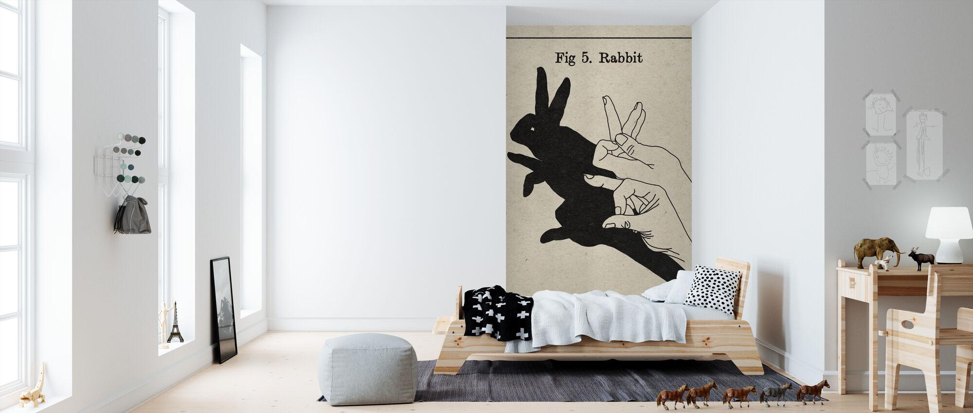 De kunst van schaduwen - Konijn - Behang - Kinderkamer