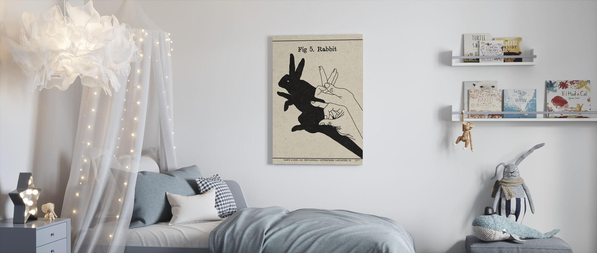 Skuggornas konst - Kanin - Canvastavla - Barnrum