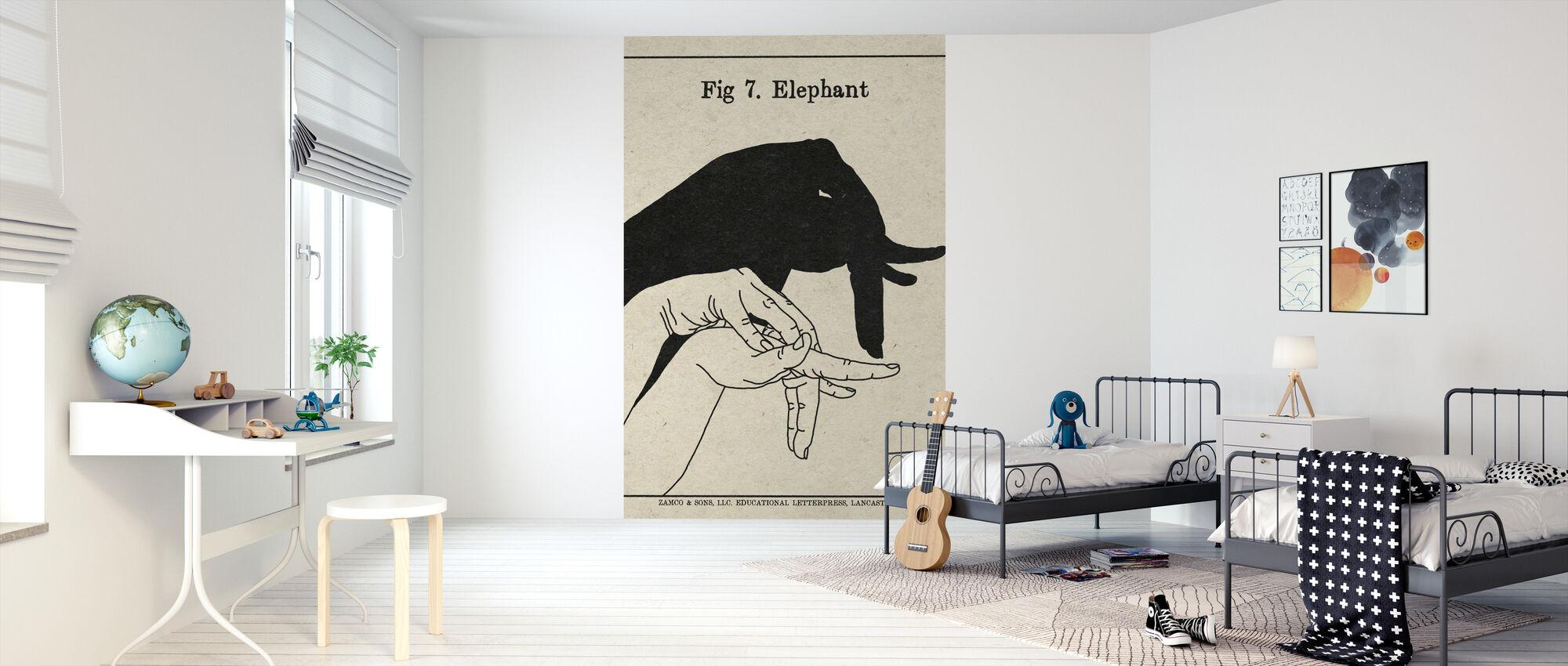 De kunst van schaduwen - Olifant - Behang - Kinderkamer