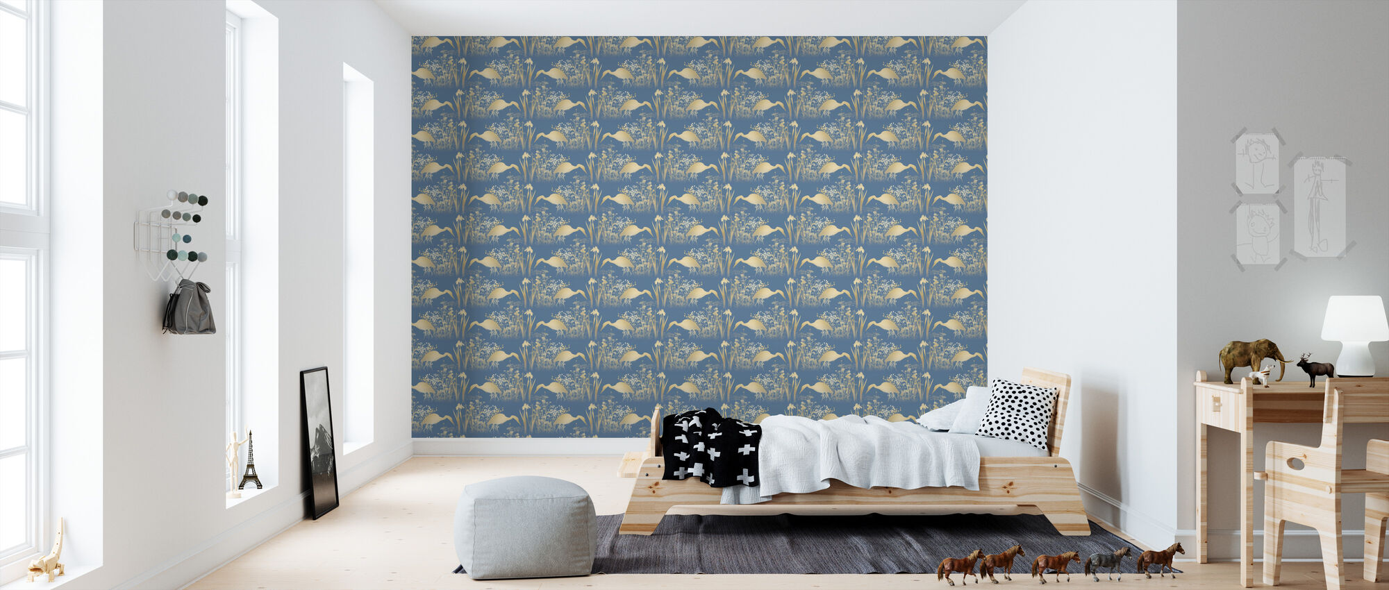 fishing heron goldenlight stilvolle tapete h chster qualit t mit schneller lieferung photowall. Black Bedroom Furniture Sets. Home Design Ideas