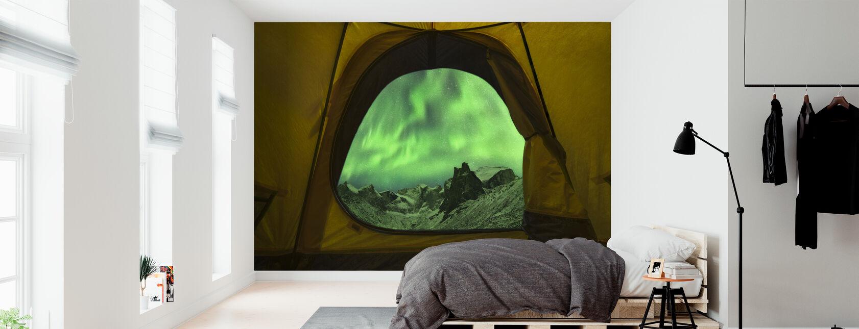 Aurora Borealis Seen from Tent, Alaska - Wallpaper - Bedroom