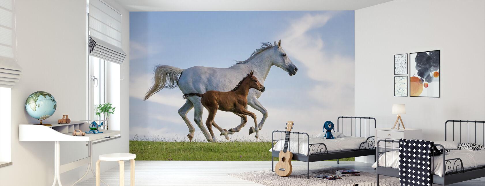 Puhdasrotuinen Arabian hevonen laukkaa - Tapetti - Lastenhuone