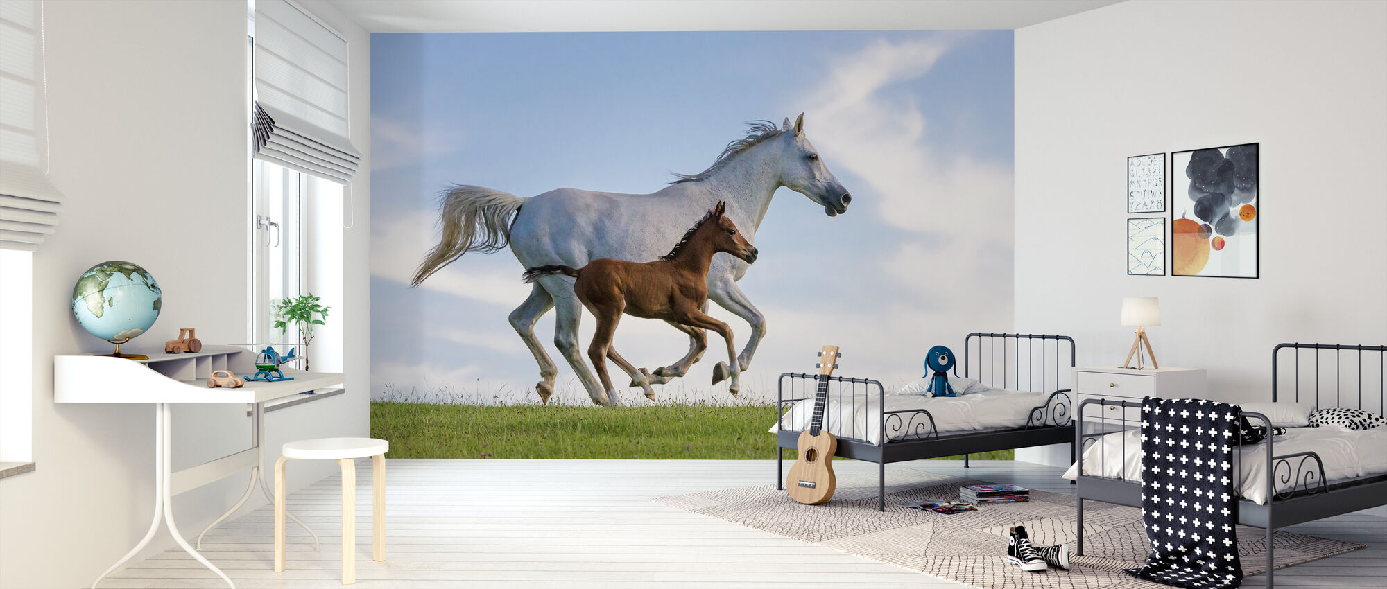 Purebred Arabian Horse Galloping - Wallpaper - Kids Room
