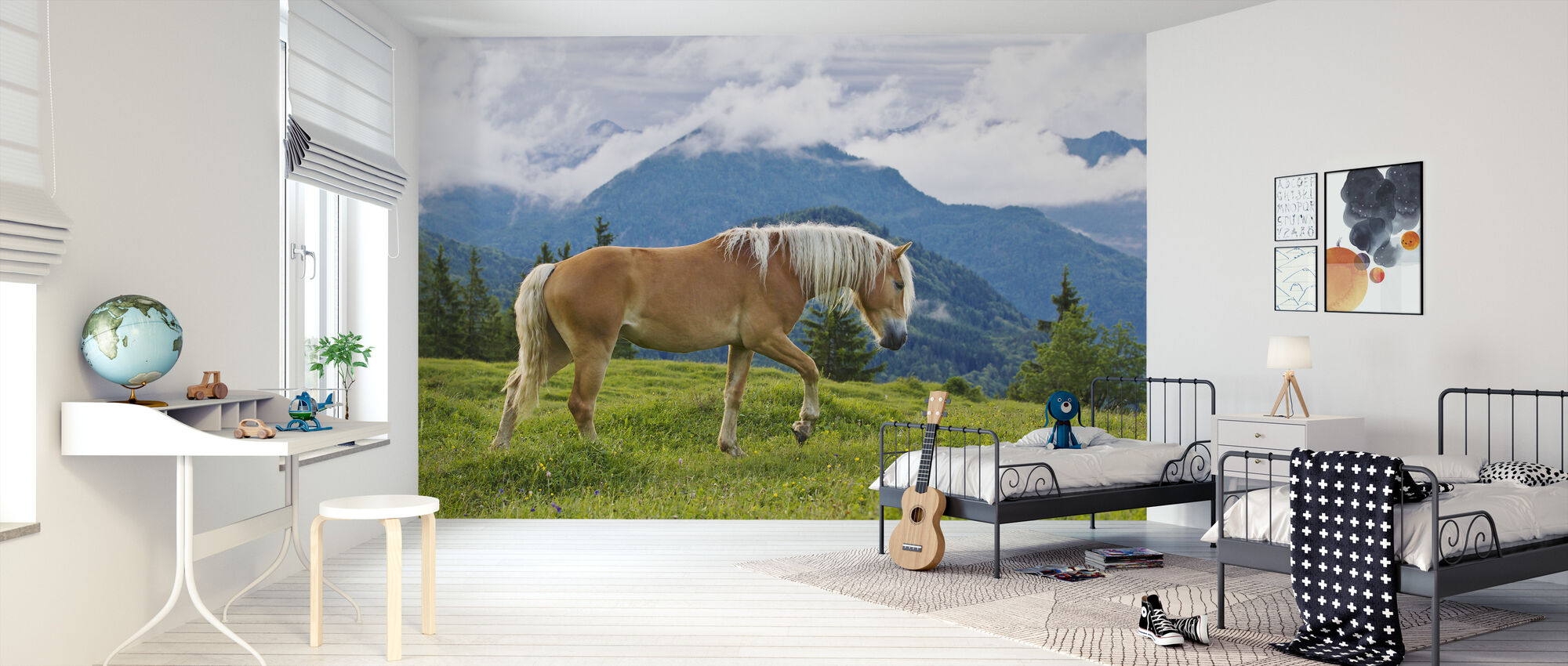 Young Haflinger Stallion in Alpine Meadow - Wallpaper - Kids Room
