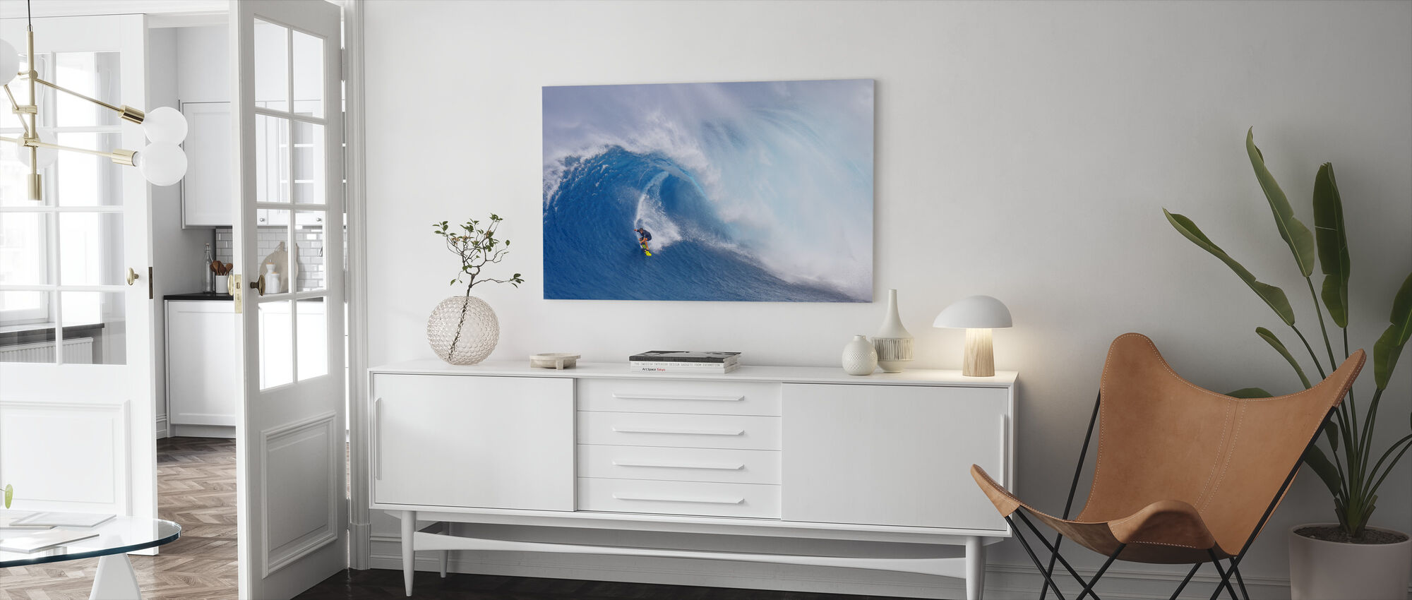 Surfing Jaws - Canvas print - Living Room
