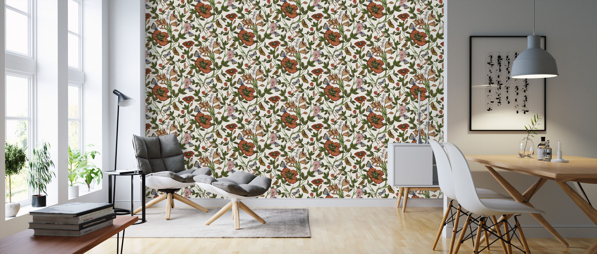 Lily Offwhite - Wallpaper - Living Room