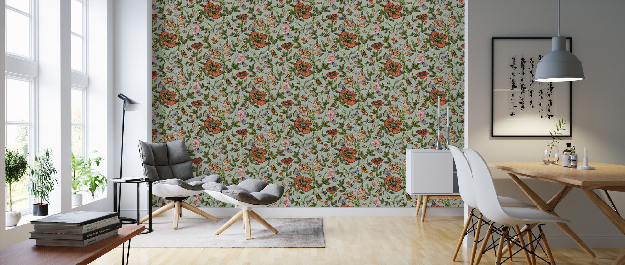 Lily Turquoise - Wallpaper - Living Room