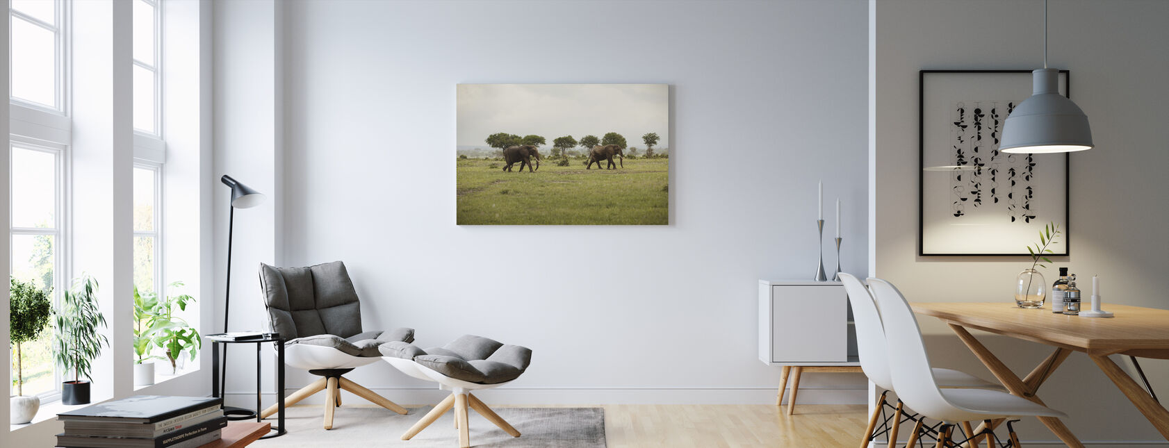 Olifanten in Nationaal Park - Canvas print - Woonkamer