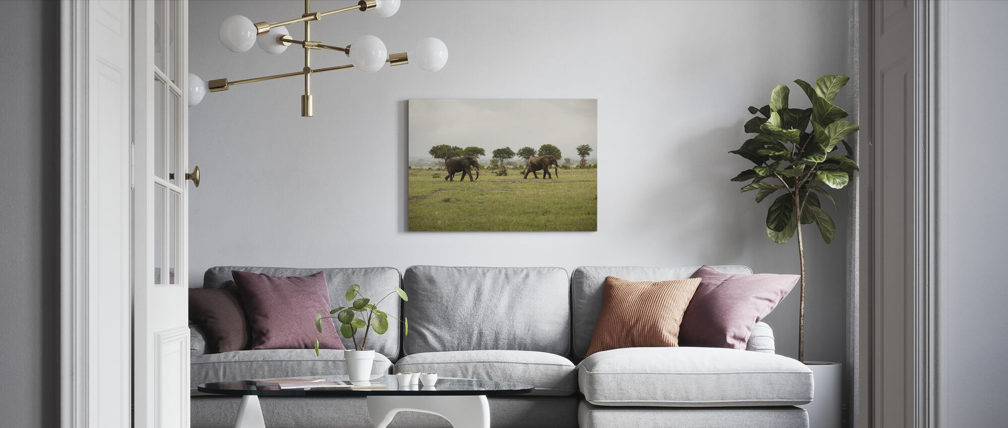 Elephants in National Park - Canvas print - Living Room