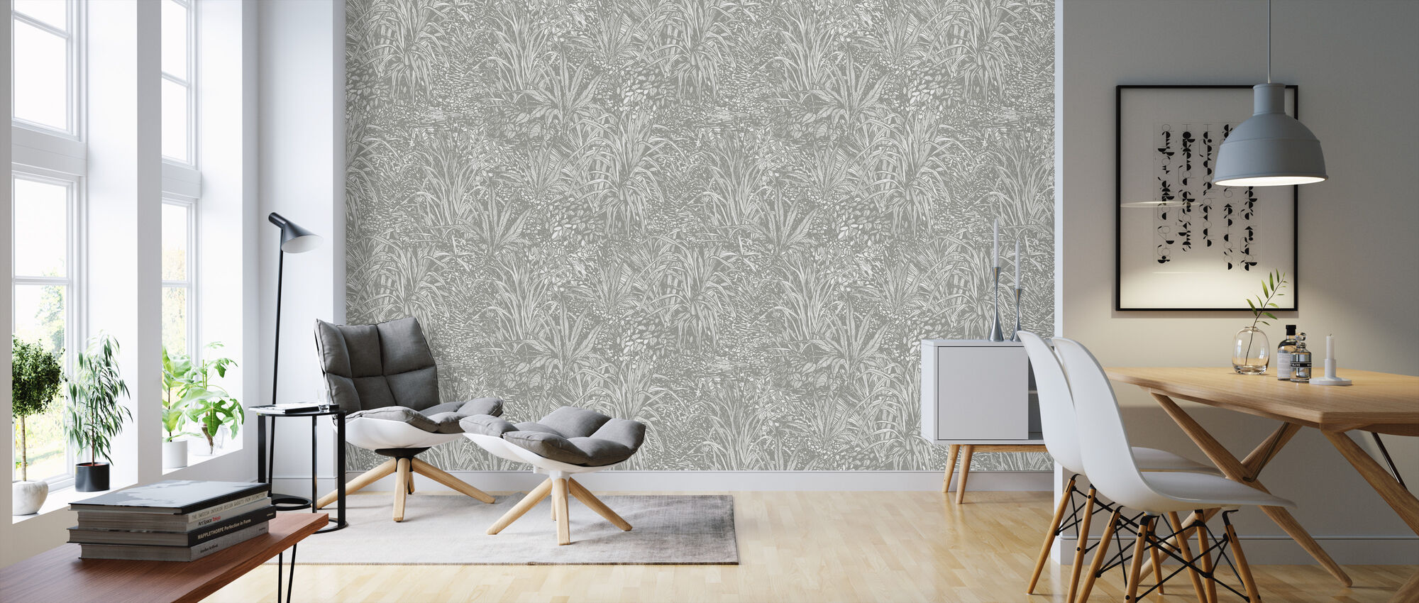 Jungle Silver Ash - Wallpaper - Living Room