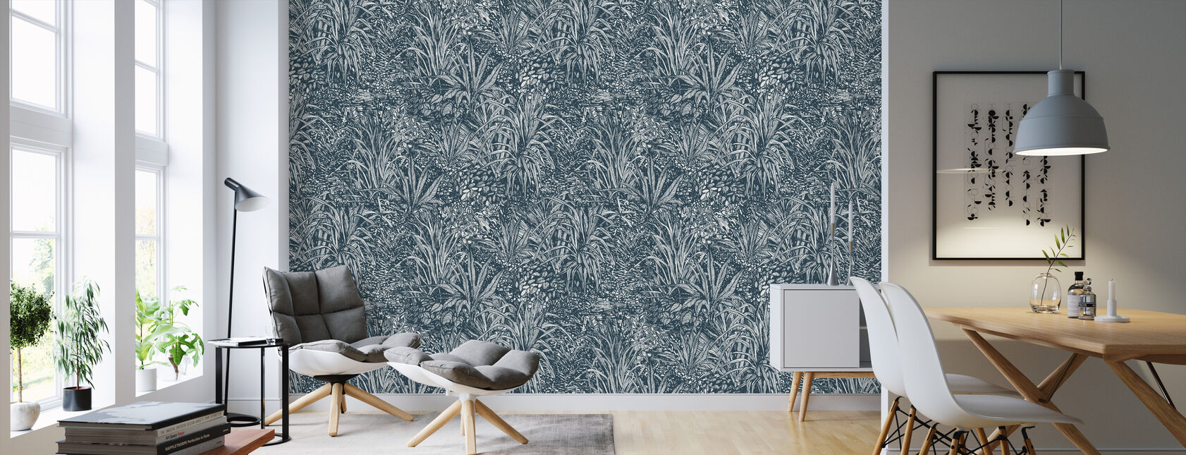 Jungle Teal - Wallpaper - Living Room