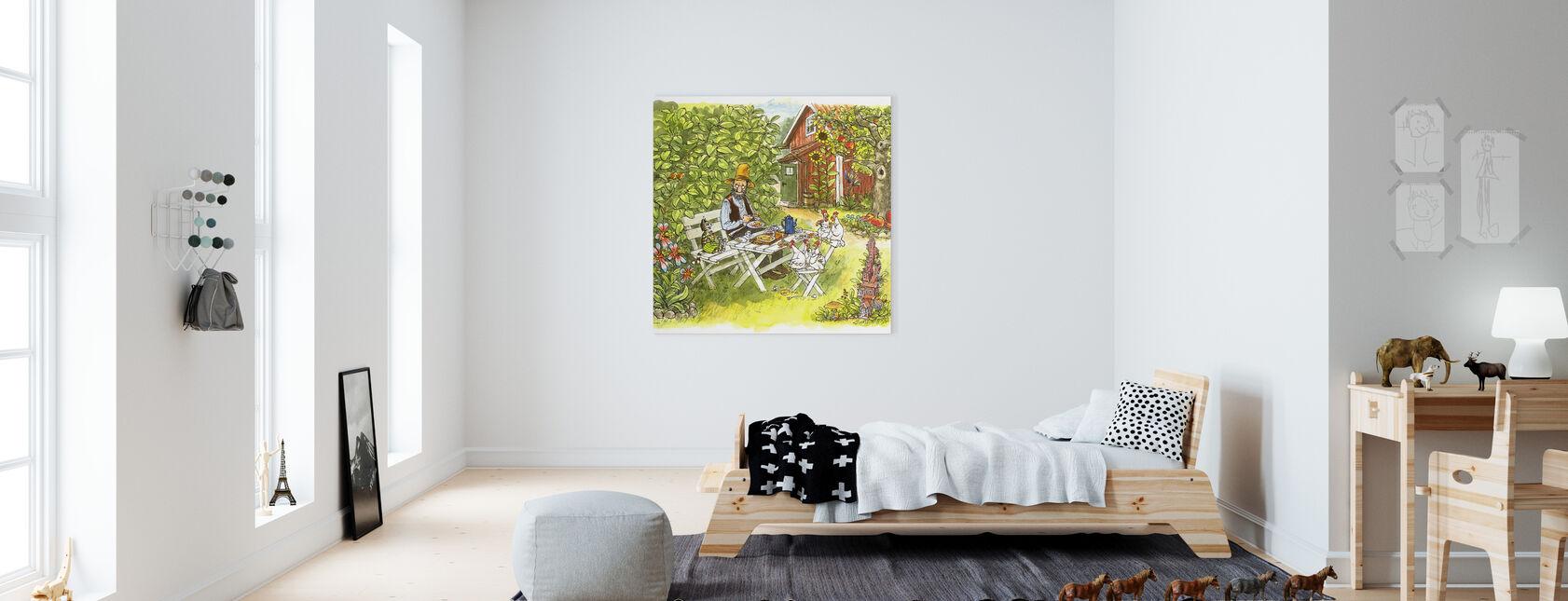 Pettson och Findus - Pannkakslunch i trädgården - Canvastavla - Barnrum